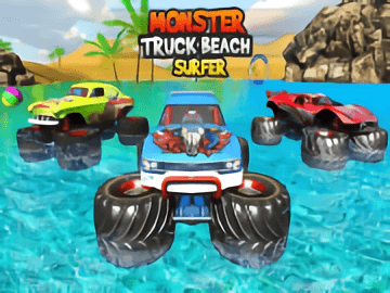 Monster Truck Water Surfing Truck Racing Games